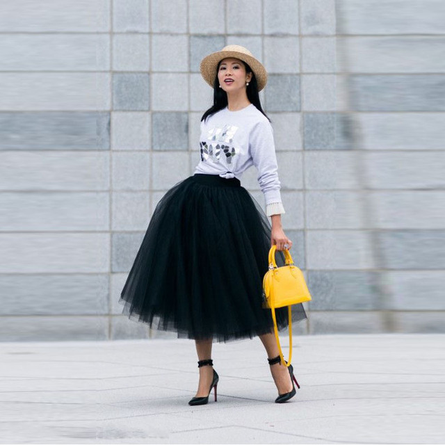 fac890482b Fashionable Street Style Black Tutu Skirt Elastic Waistline A Line Tee  Length Midi Skirt Puffy Thick Tulle Skirts Women