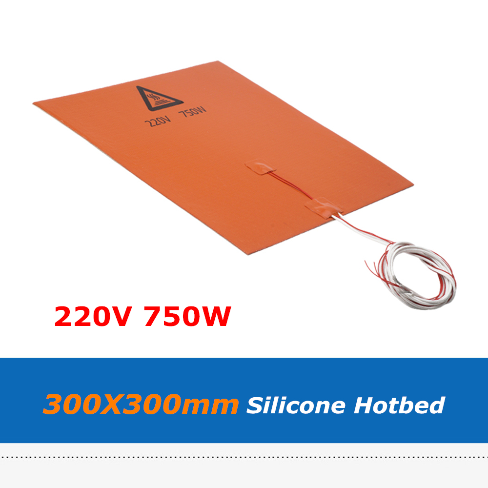 3D Printer Part Silica Gel Hotbed Pad 300*300mm 220V 750W Silicone Rubber Heater Heat Bed With 3M Adhensive Tape