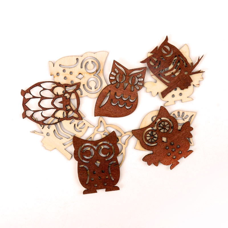 Cute Owl Pattern Wooden Scrapbooking Paitning Collection Craft Handmade DIY Accessory Home Decoration DIY 38-45mm 10pcs MZ209