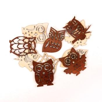 Lindo patrón de búho álbum de recortes de madera Paitning Colección Arte accesorio DIY hecho a mano casa bricolaje decoración 38-45mm 10mm Uds MZ209