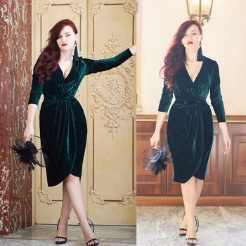 Fashion Velvet Prom Gown Charming Half Sleeves Deep V Neck Formal Dress for Wedding Party