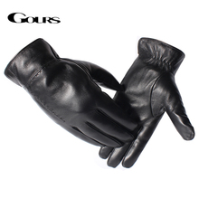 Gours Genuine Leather Gloves for Men Fashion Brand Real Sheepskin Black Warm In Winter Mittens New Arrival GSM052