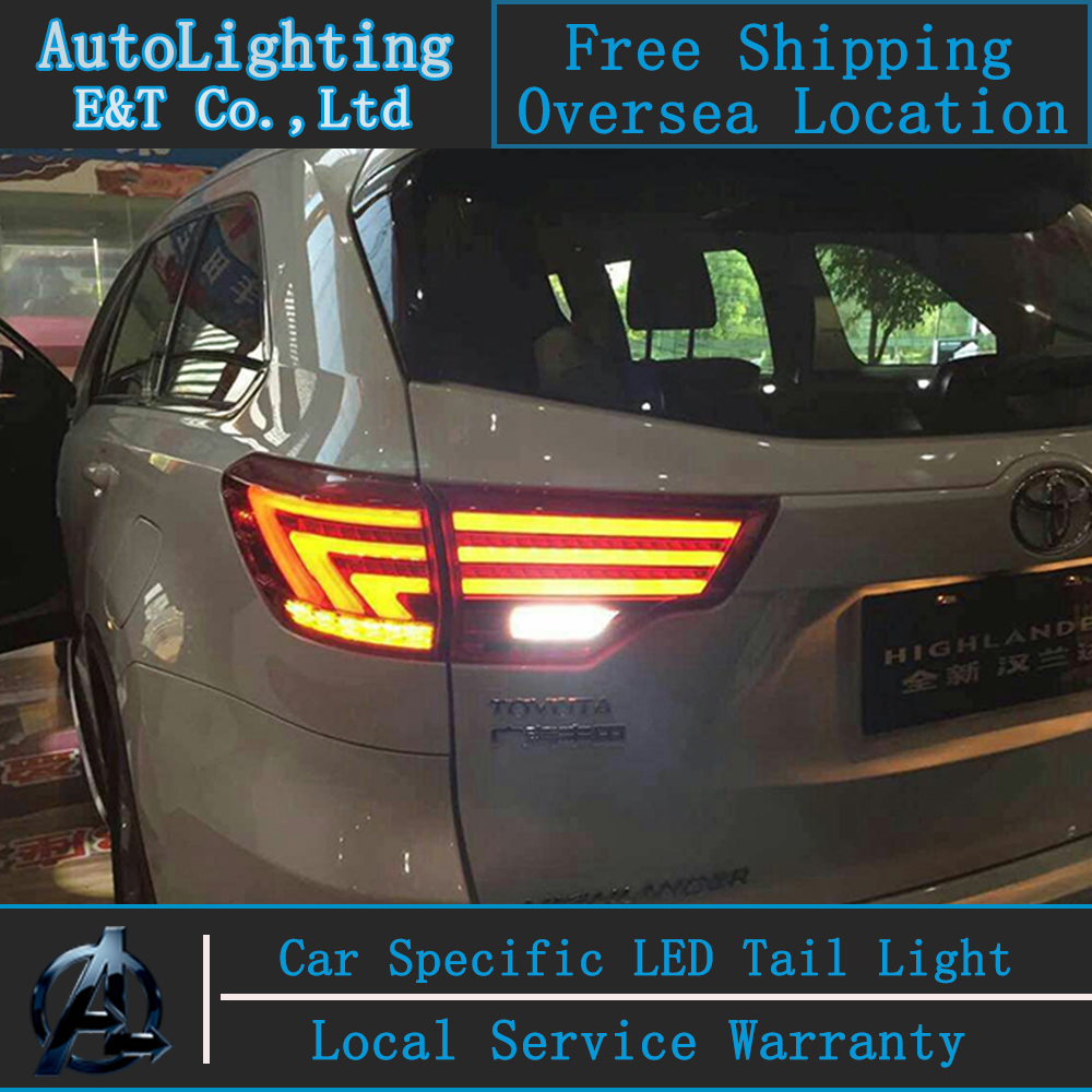 Car Styling Tail Lamp for Highlander tail lights 2015 For Toyota Highlander led tail light rear lamp signal+brake+drl+reverse car styling tail lights for toyota highlander 2012 led tail lamp rear trunk lamp cover drl signal brake reverse