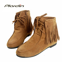 Plardin 2019 Woman Winter Ankle Tassel Martin Boots Snow Women Shoes Cross-tied Botas Square Heel Lace Up Women's Snow Boots(China)