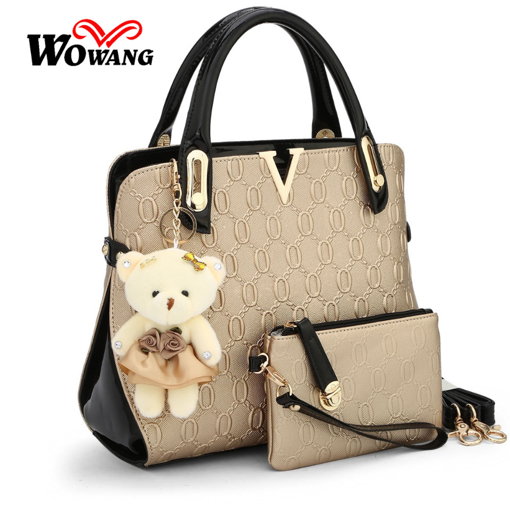 2016 Women Leather Handbag Embossed Crossbody Shoulder Bags designer handbags high quality Women Messenger Bag Tote Purse 3 sets