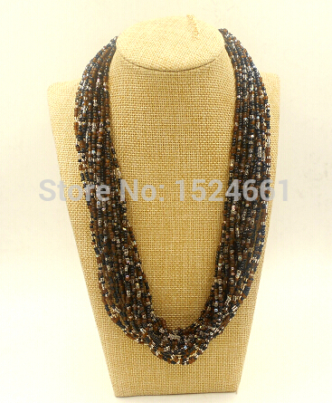 BMX00027 Color mixture beads necklace women chain african beads jewelry charm necklace bead body jewelry ornament seed