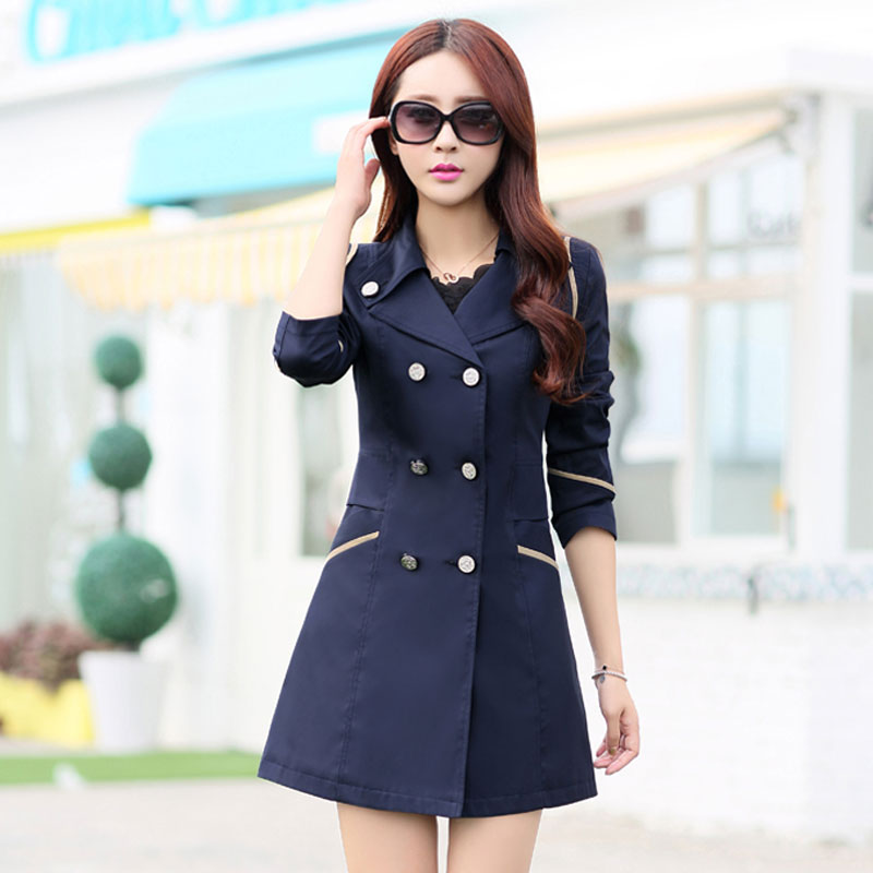 FIONTO   Trench   Coat Women 2018 Turn Down Collar Casual   Trench   Coats Female Solid Long Slim Double Breasted Coats A034a
