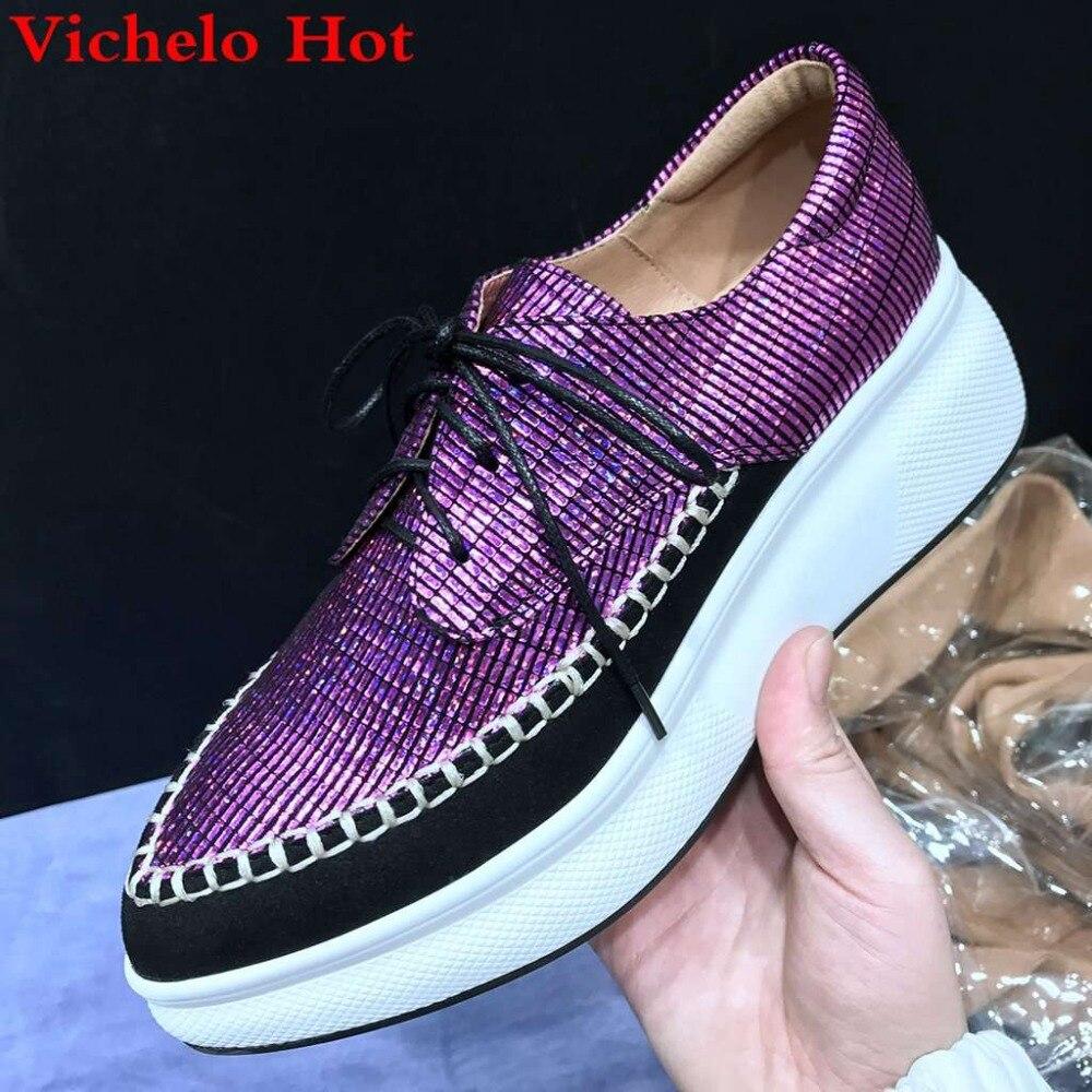 Spitze Heels Vichelo Mischfarben Britischen Loafers Preppy Schuhe Tragen Casual Schwarzes Spitz Purple Vulkanisierte Stil Up Heißer Oxford L7f8 High deep 0BwrtqB
