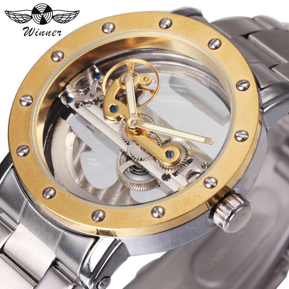 winner top brand luxury men golden bridge mechanical watch 3d bolt