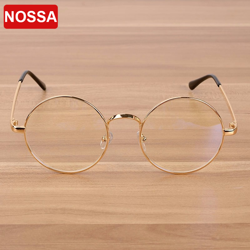 NOSSA Retro Ronde Dames Brillen Groot Frame Helder Lens Heren Vintage - Kledingaccessoires