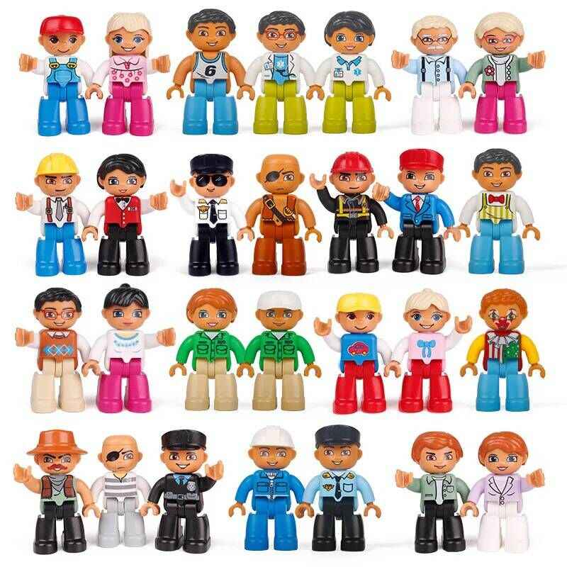 Legoing Duplo Action Figures Family Worker Police Big Size Building Blocks Bricks City Education Toys for Children Baby Gifts