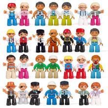 Legoing Duplo Action Figures Family Worker Police Big Size Building Blocks Model Duploed Legoings Education Toys for Children(China)