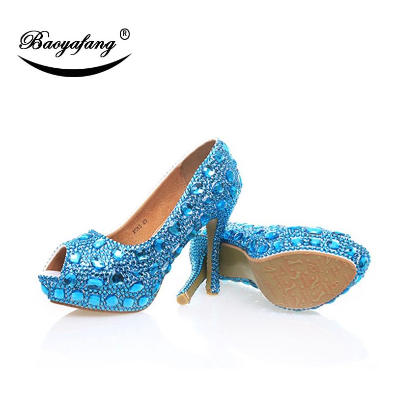 Cristal Baoyafang Marque Mariage Shoe Dames Plate De Femme Arrivée Femmes Chaussures 12 Talon 12cm Mer Nouvelle Haut Bleu Cm forme qpwgxpIa