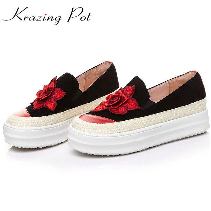 Krazing Pot sheep suede slip on flowers superstar round toe sneaker mixed colors flower causal shoes women vulcanized shoes L66