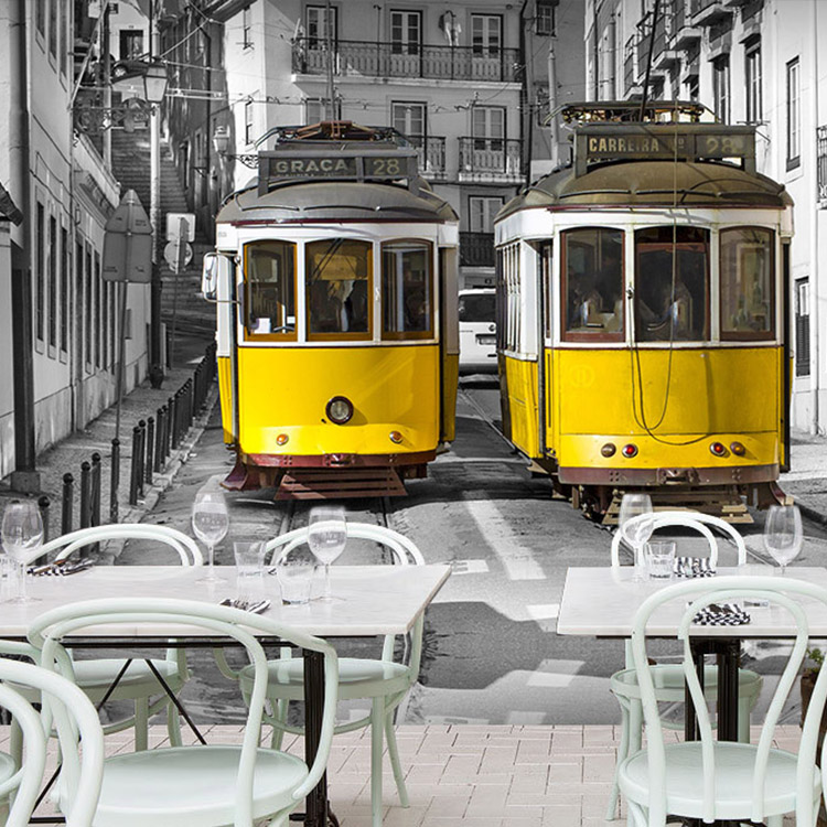 Free Shipping European style retro tram road large murals restaurant leisure Cafe tea shop wallpaper living room sofa mural цена 2016