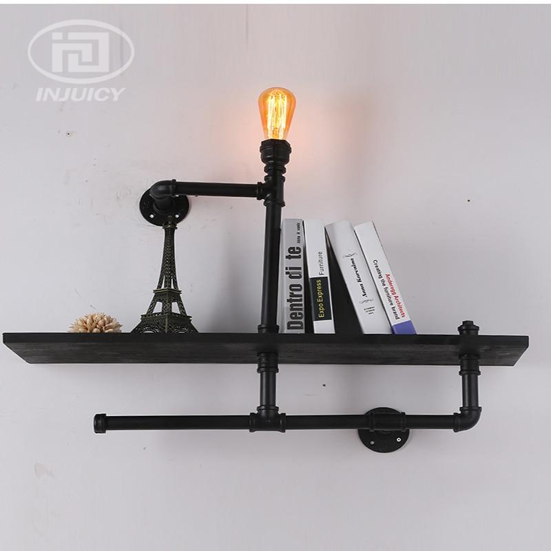 Boekenplank Met Verlichting.Vintage Industriele Waterleiding Ijzer Led Wandlamp Houten