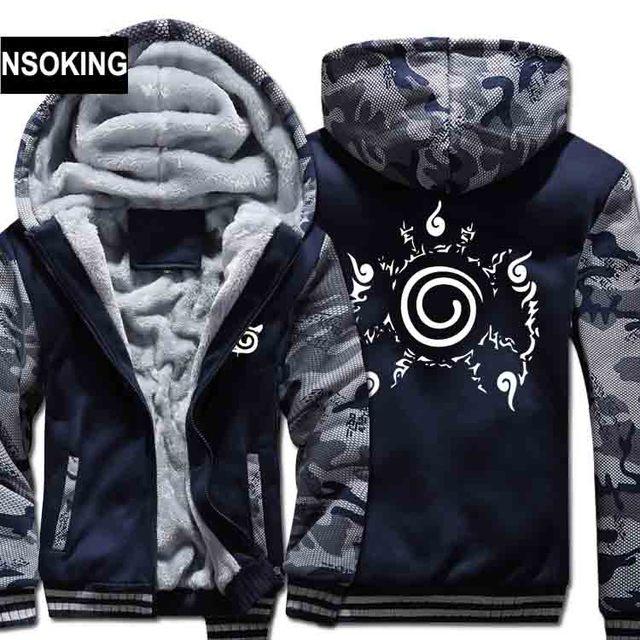 H0029 New Winter Warm Naruto Hoodies Anime UzumakiNaruto Hooded Coat Thick Zipper men casual cardigan Jacket Sweatshirt