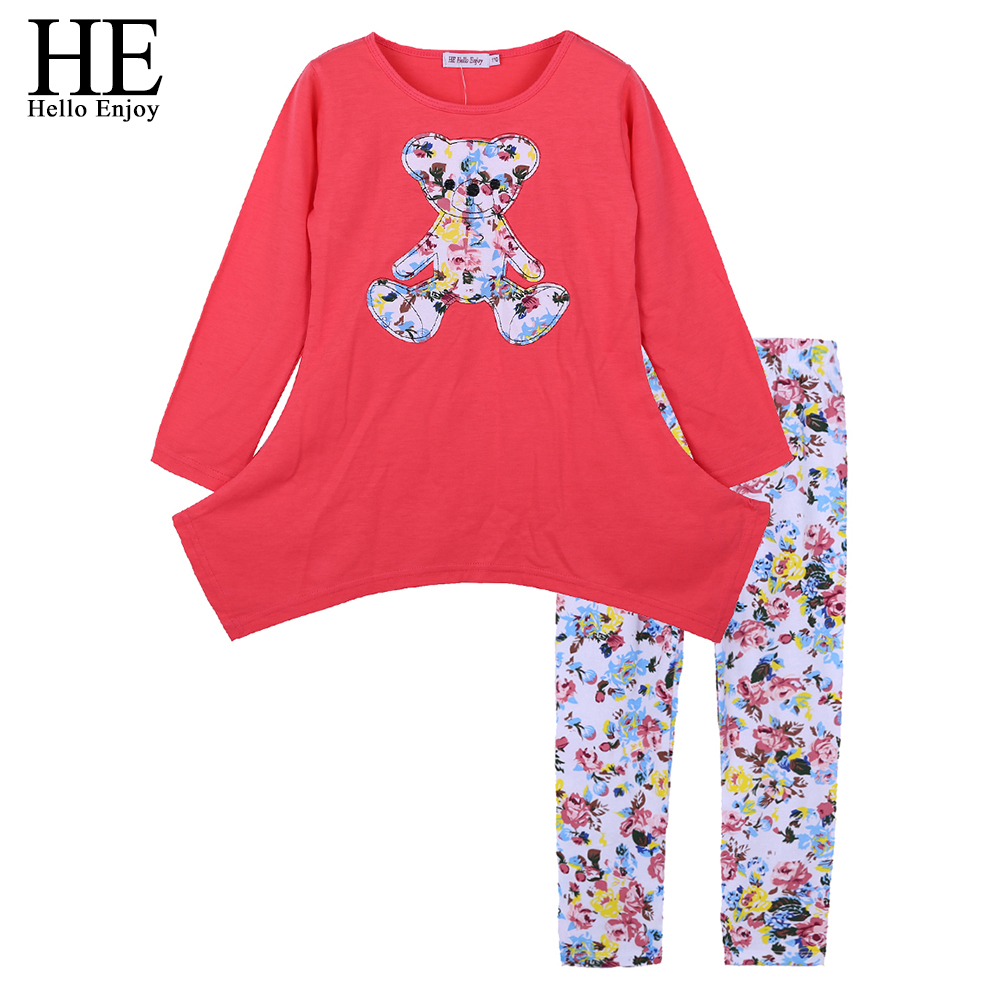 HE Hello Enjoy Kids Girls Clothes Spring Autumn Children Clothing Sets Long Sleeve Tops+Flower Legging Pants Tollder Girls Suits he hello enjoy toddler girls clothes autumn winter girl clothing sets 2017 long sleeved jacket skirt pants flower clothing set