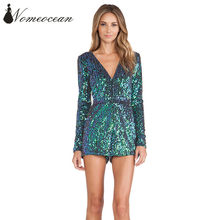 Sequin Plunge Neck Long Sleeve Bodysuit Sexy Pailltte Beaded Shining Sequined  Jumpsuits Rompers Playsuits Women Shorts 8377add2a