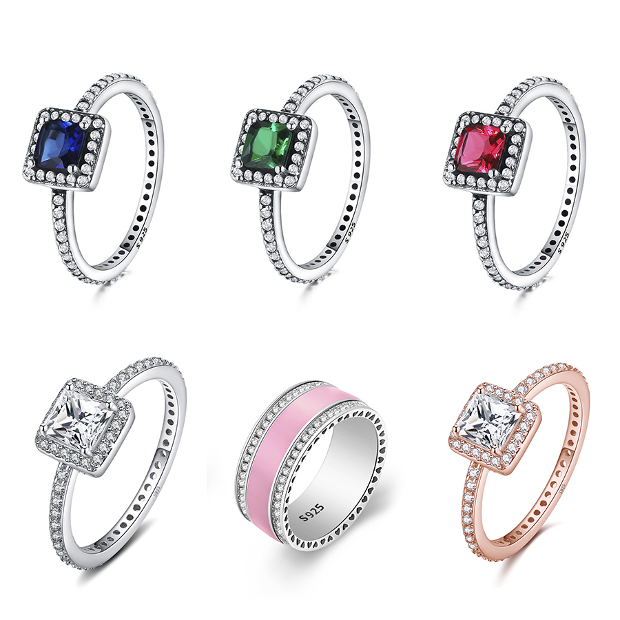 Big Stone Pink Enamel  Classical Round Ring 925 Silver Color Finger Ring For Women Jewelry