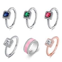 Big Stone Pink Enamel  Classical Round Ring 925 Sterling Silver Finger Ring For Women Jewelry цена в Москве и Питере