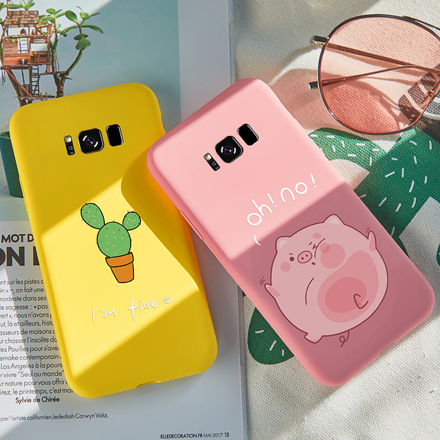 ASINA Cute Cartoon Case For Samsung Galaxy S8 Plus Case Cover 3D Relief Soft Silicone Bumper For Samsung Galaxy S7 Edge S9 Plus