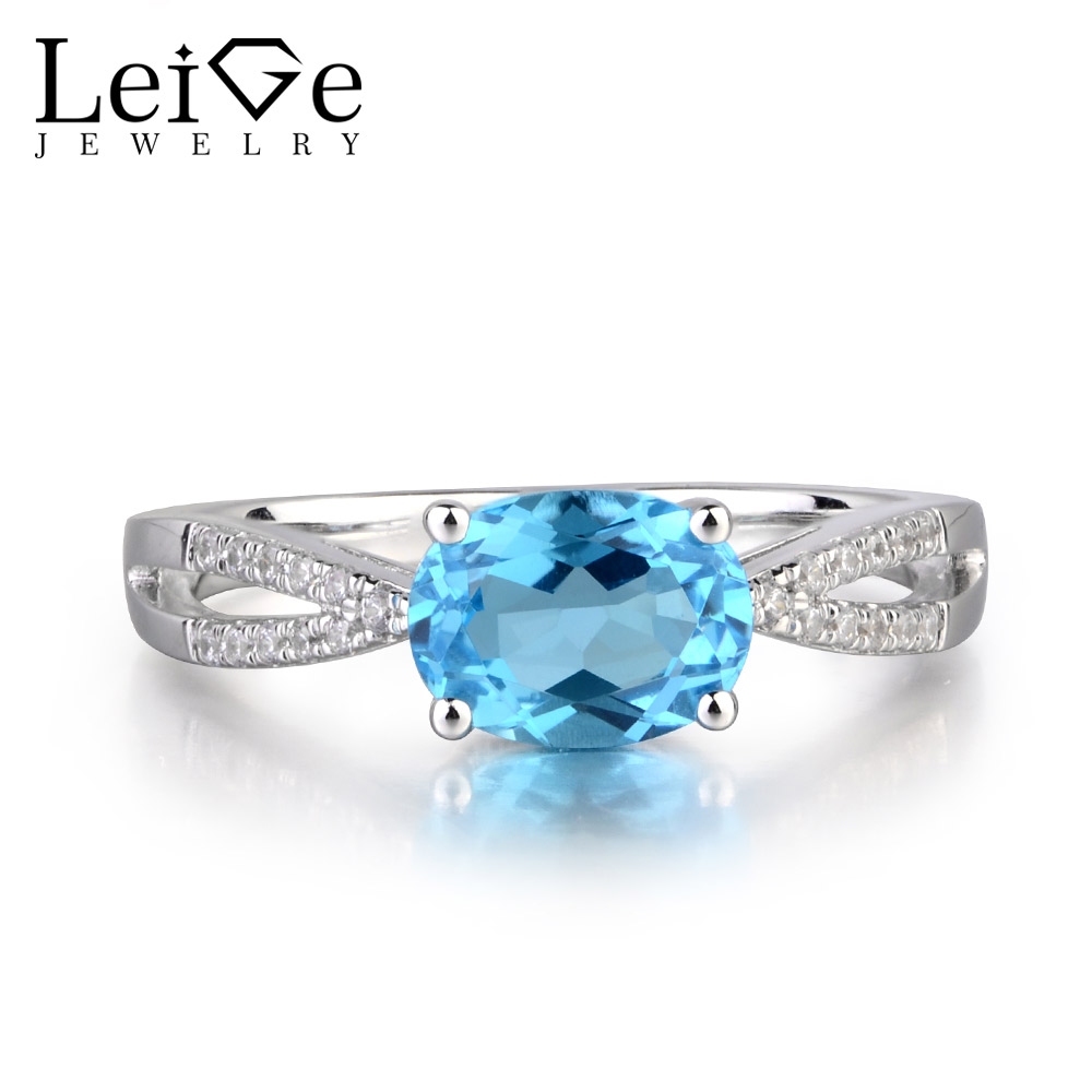 Leige Jewelry Natural Swiss Blue Topaz Gem Wedding Bands Romantic Rings For Woman November Birthstone 925 Sterling SilverLeige Jewelry Natural Swiss Blue Topaz Gem Wedding Bands Romantic Rings For Woman November Birthstone 925 Sterling Silver