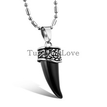 Vintage Gothic Mens Stainless Steel Black Wolf Tooth Pendant Necklace colgantes hombre bijoux homme