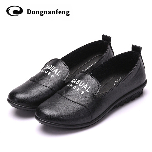 Hot Women's Flats Shoes Female Woman Pig Leather Round Toe Slip-On Lady Mother UP Polyurethane Platform Soild Casual Shoes TBA06