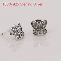 Cute Korean Stud Earrings For Women BUTTERFLY SILVER STUD EARRINGS CUBIC ZIRCONIA Stud Earring Sterling Silver