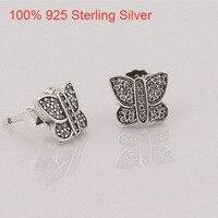 Cute Korean Stud Earrings For Women BUTTERFLY SILVER STUD EARRINGS CUBIC ZIRCONIA Stud Earring Sterling Silver