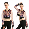 Women Printed Short Coats Crop Top Jackets Autumn Digital Printed High Waist Suit Outwear Tracksuits