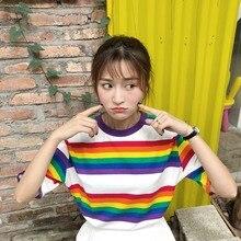 Rainbow Shirts Women Short Sleeve Tshirt Oversized T Shirt Kawaii Graphic Tees Summer Tops