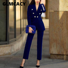 Women 2 Pieces Pleuche Velvet Suits Set Solid Elegant Blazer and Pants OL Office Workwear Worksuit Classy Modern Lady Streetwear(China)