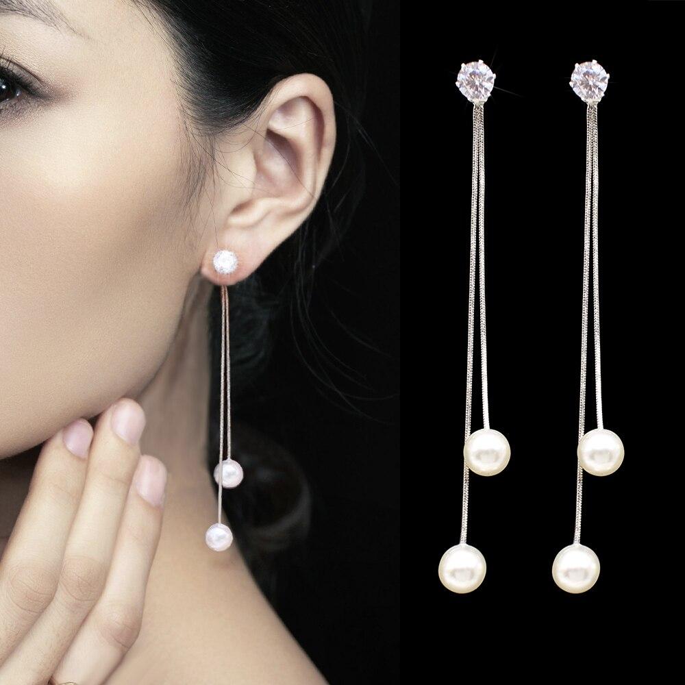 Fashion Long Tassel Simulated Pearl Drop Earrings for women girl Rhinestone exquisite Snake Chain Pendant Earring Brincos Bijoux