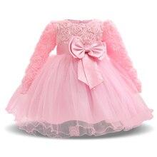 Spring Autumn 0-2 Yrs Baby Clothes Rose Flower Tulle Cute Pink Princess Newborn Baby tutu Dress Infant Dresses vestido infantil