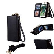 3 в 1 Роскошный Кожаный Магнитный Кошелек Case для iPhone 6 s plus откидную Крышку С Держателя Карты Телефон Сумка Новый + Плечевой ремень 2 шт.