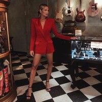 HIGH STREET New Stylish 2018 Classic Designer Blazer Women's Notched Satin Collar Red Long Blazer Jacket