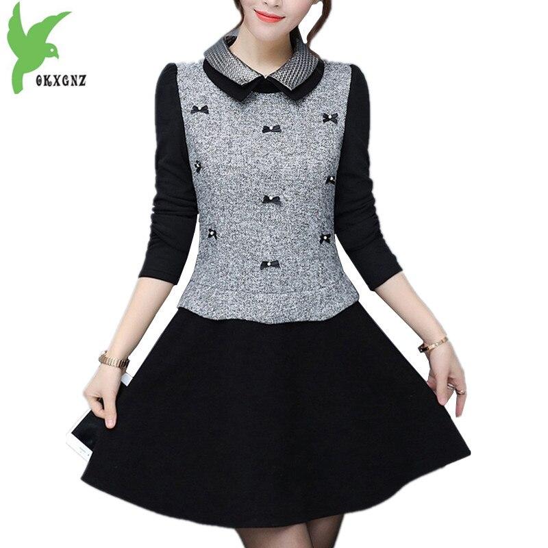 US $43.68 50% OFF|Boutique Women Autumn Winter Woolen cloth Dress Stitching  Flocking Warm Primer Dress Plus size Female Slim Mini Dress OKXGNZ1331-in  ...