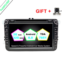 Funrover VW In Dash Car Stereo 8 Car DVD GPS Navigation 2din Car Radio Support CANBUS