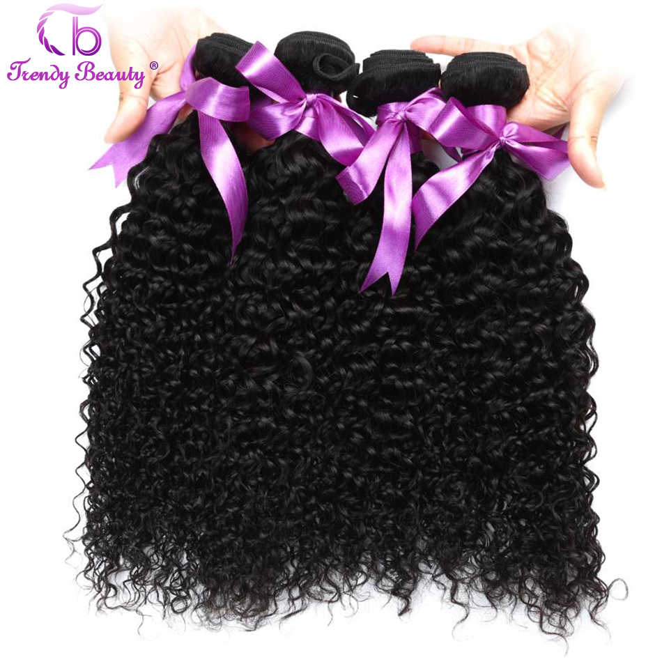 Trendy Beauty Hair 8-30 Inches Malaysia Kinky Curly 100% Human Hair Weave Bundles 4 Pcs/Lot Natural Black Can Be Dyed No Tangle