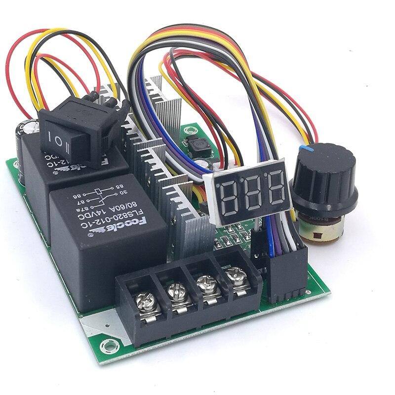 Pwm controlador de velocidade dc motor display digital 0 max100% módulo de acionamento ajustável entrada max60a 12 v 24 v