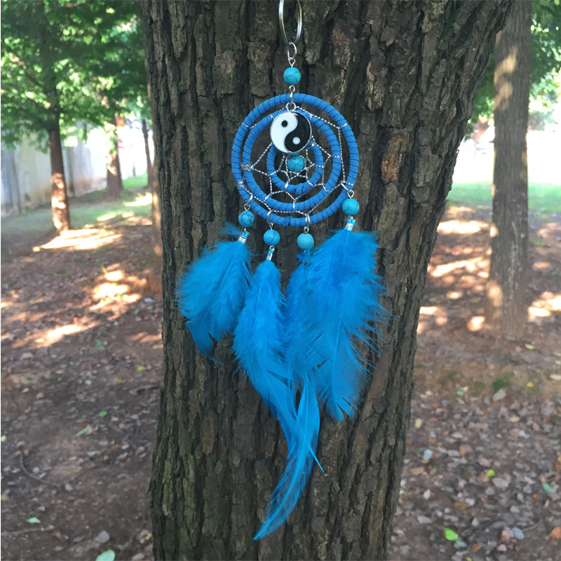 6*20CM Dream Catcher Home Decor, blue Feather Dreamcatcher Wind Chimes Indian Style Mascot Car or Wall hanging Decoration