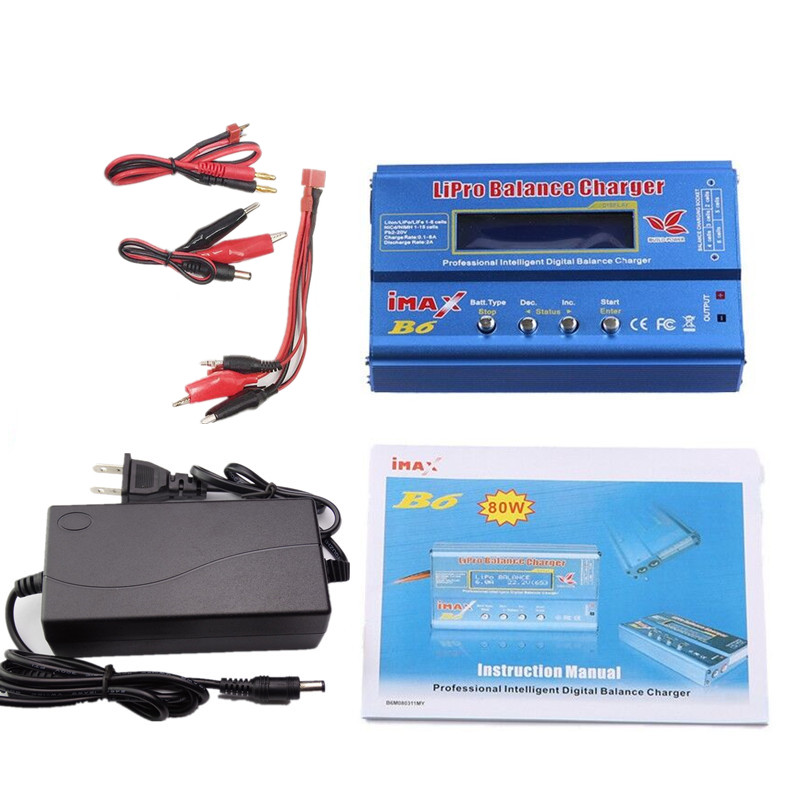 Build-Power Battery Balance Charger iMAX B6 Lipro Digital Balance Charger/Discharger + 12v 6A Power Adapter + Charging Cables