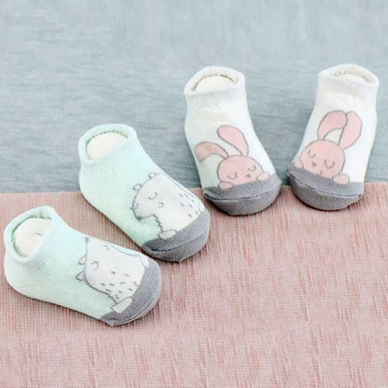 2 Kinds Unisex Kids Cotton Rabbit Bear Newborn Baby Girls Boy Soft Print Anti Slip Boots Ankle Socks