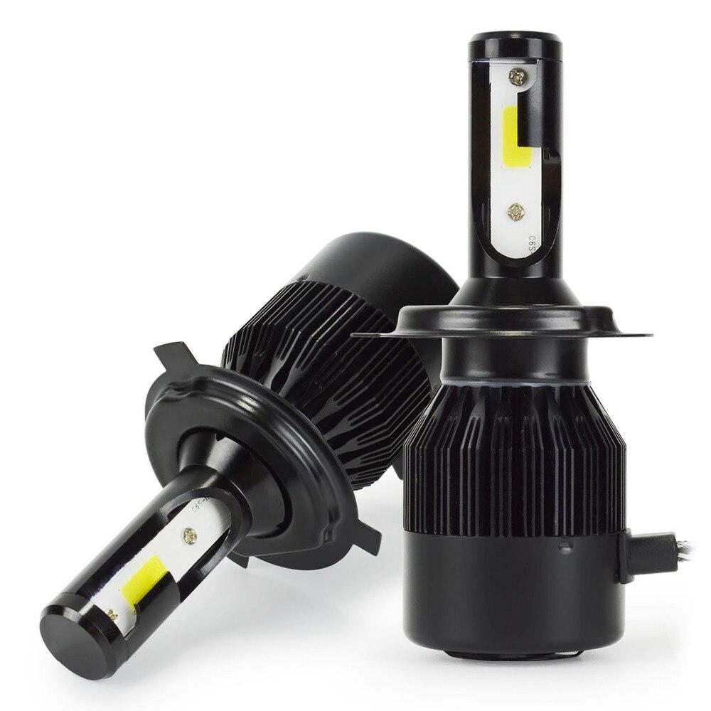 6000lm H4 Hi/Lo LED Headlight Kit Bulbs COB Chip Car Auto LED Conversion Kit Replace for Halogen Lights 1 Year Warranty 12V