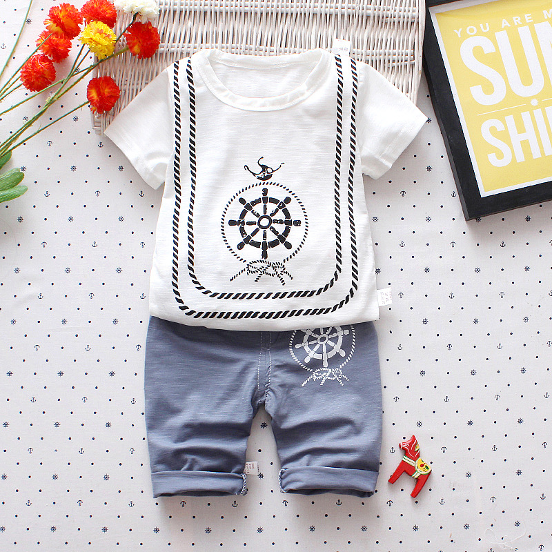 Childrens Wear Summer Boys Girls Rudder Printing Bamboo Cotton Short Sleeve Round Neck Coat Cropped Pants Set Breathable Sweat