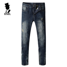 Fashion Mens Jeans New Famous Brand Clothing Slim Fit Denim With Logo High Quality Simple Design Ripped 6254