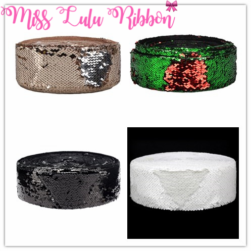 3 75mm Double Color Reversible Sequin Ribbon Colorful Red with Green Hair Band Making DIY Christmas