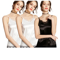 3 Pcs Women V Neck Cami Adjustable Strap Female Summer Lace Trim Tank Women Satin Silk Tops Size Color Please Message or Note